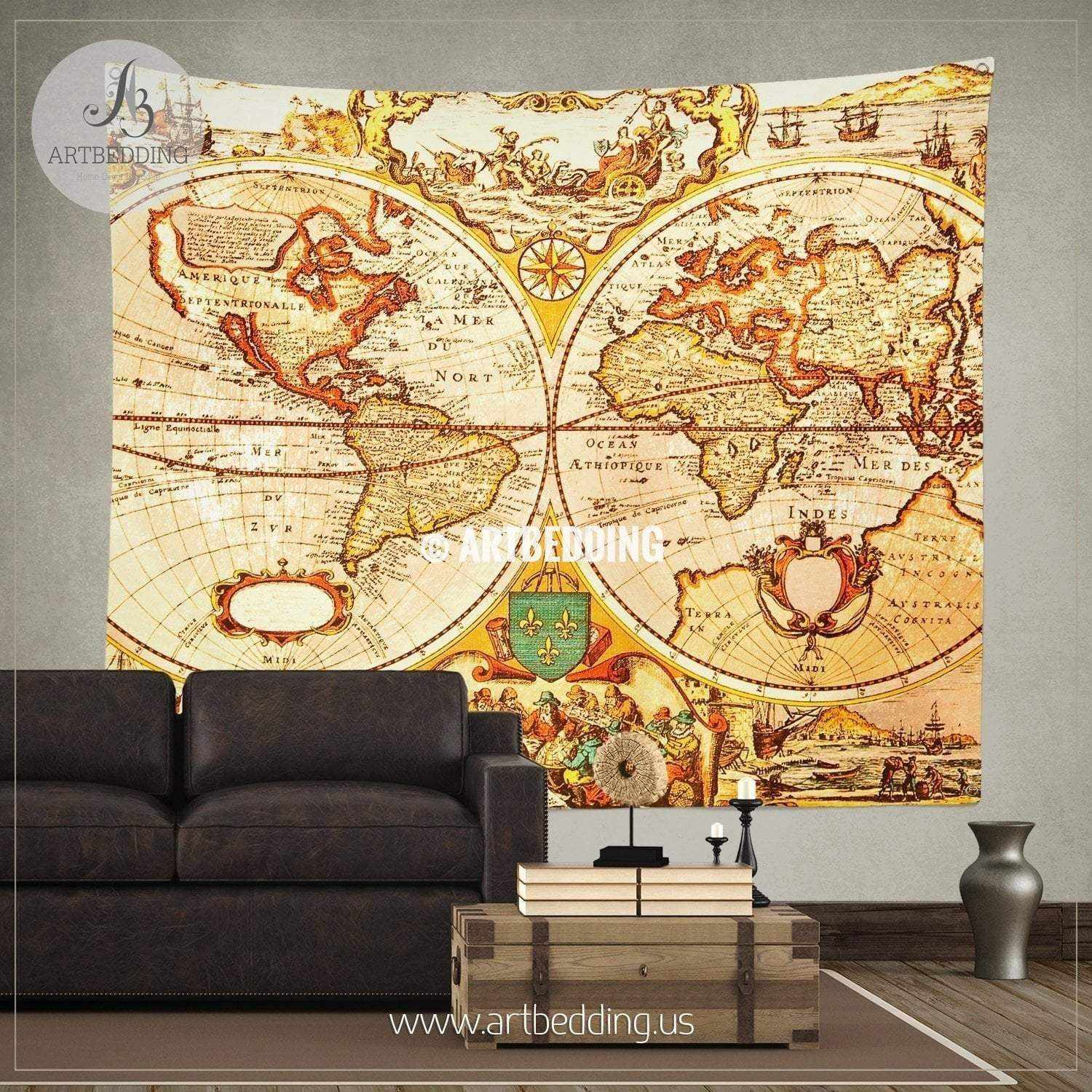 Antique map of the world wall tapestry, vintage interior map wall ...