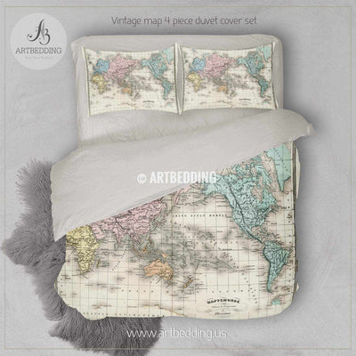 Antique Map of World bedding, Vintage old map duvet cover set, Vintage map comforter set Bedding set
