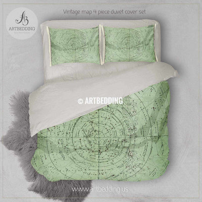Antique Stieler Map of South Sky Star Chart (1872) bedding, Vintage old map duvet cover, Antique map queen / king / full Bedding Set, Vintage map Duvet cover set Bedding set