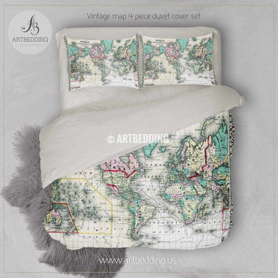 Antique World Map (1870) bedding, Vintage old map duvet cover, Antique map queen / king / full Bedding Set, Vintage map Duvet cover set Bedding set