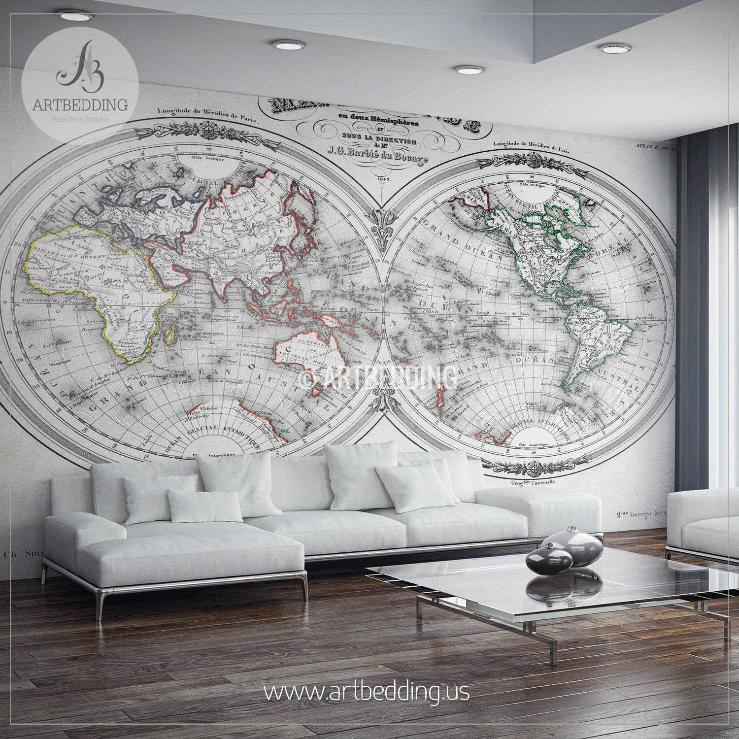 Old World Map Mural.Vintage Map Wall Mural Self Adhesive Photo Mural Artbedding