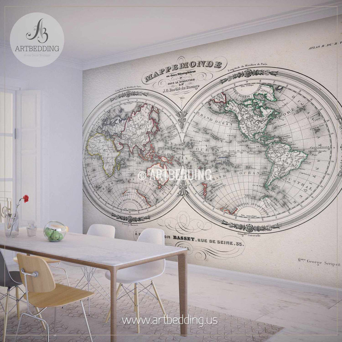 Antique World Map Hemisphere (1846) Wall Mural, Self Adhesive Peel & Stick Photo Mural, Atlas wall mural, mural home decor wall mural