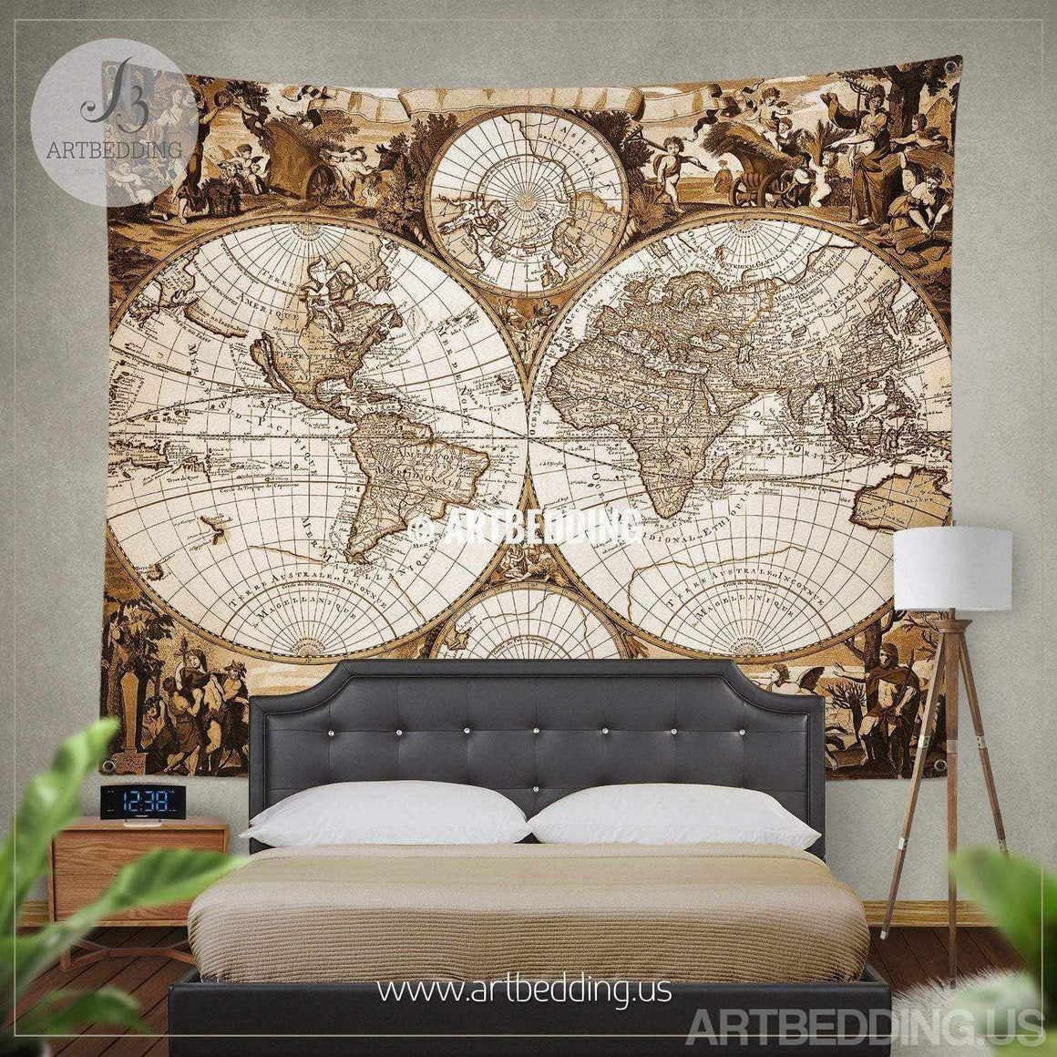 Antique world map wall tapestry, Ancient world map wall hanging, vintage old map wall decor, Steampunk wall art print Tapestry