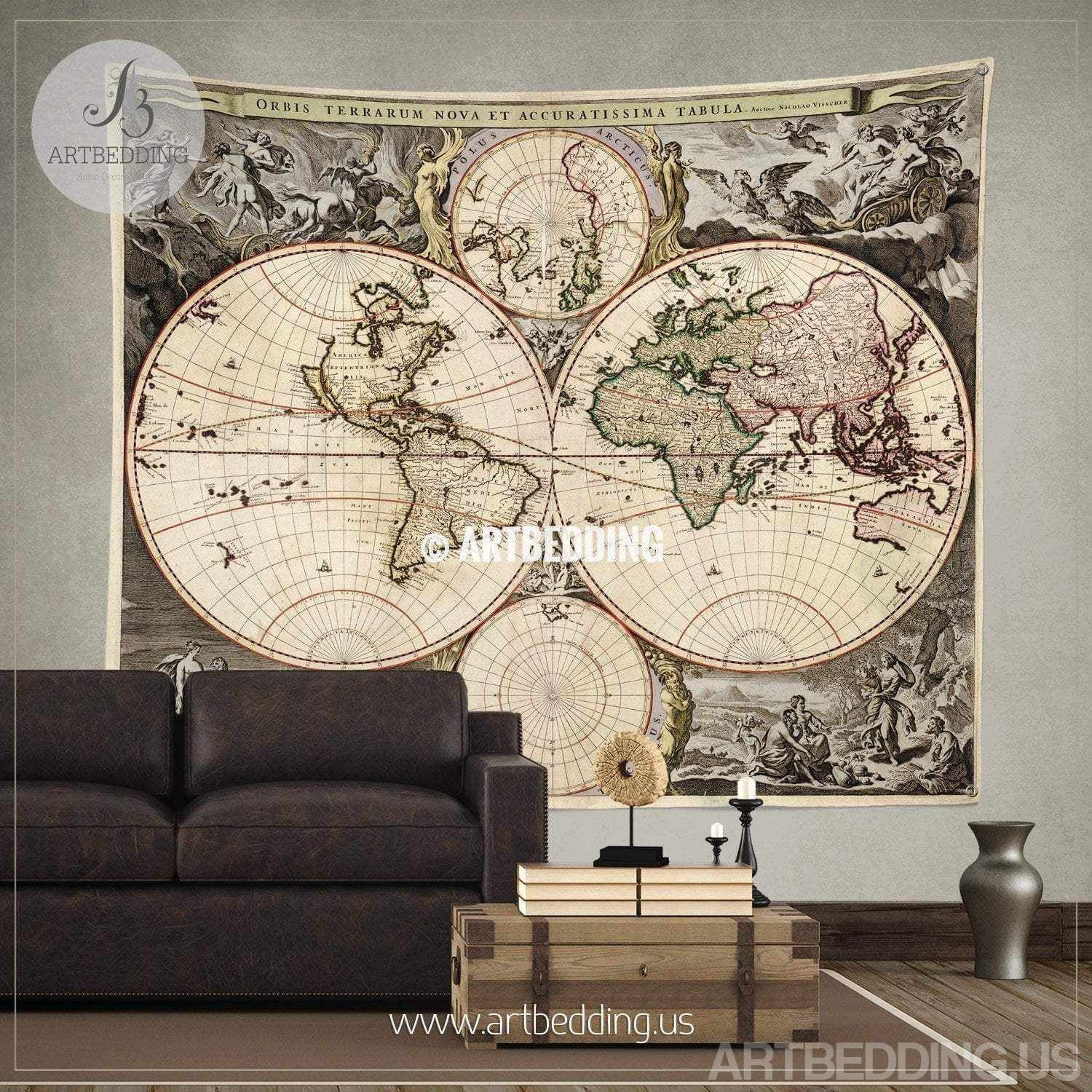 Antique World Map Tapestry.Antique World Map Wall Tapestry Vintage World Map Wall Hanging