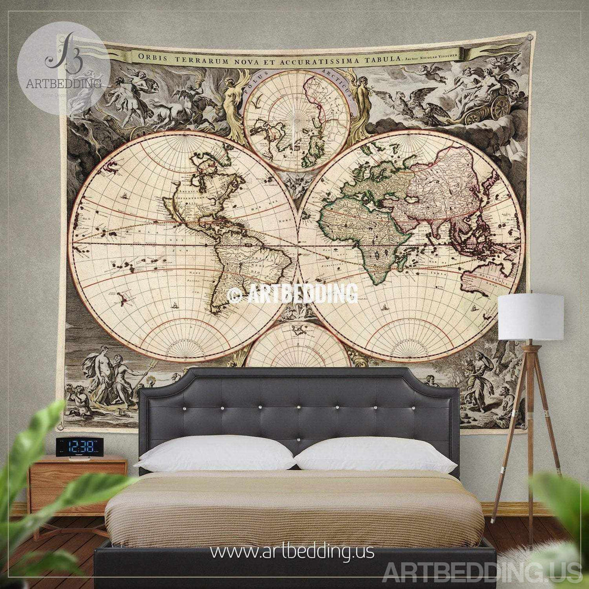 Antique world map wall tapestry, vintage world map wall hanging, vintage old map wall decor, Steampunk wall art print Tapestry