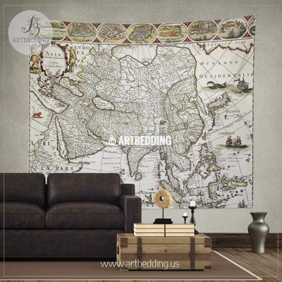 Asia old map 1650 wall tapestry, vintage interior map wall hanging, old map wall decor, vintage map wall art print Tapestry