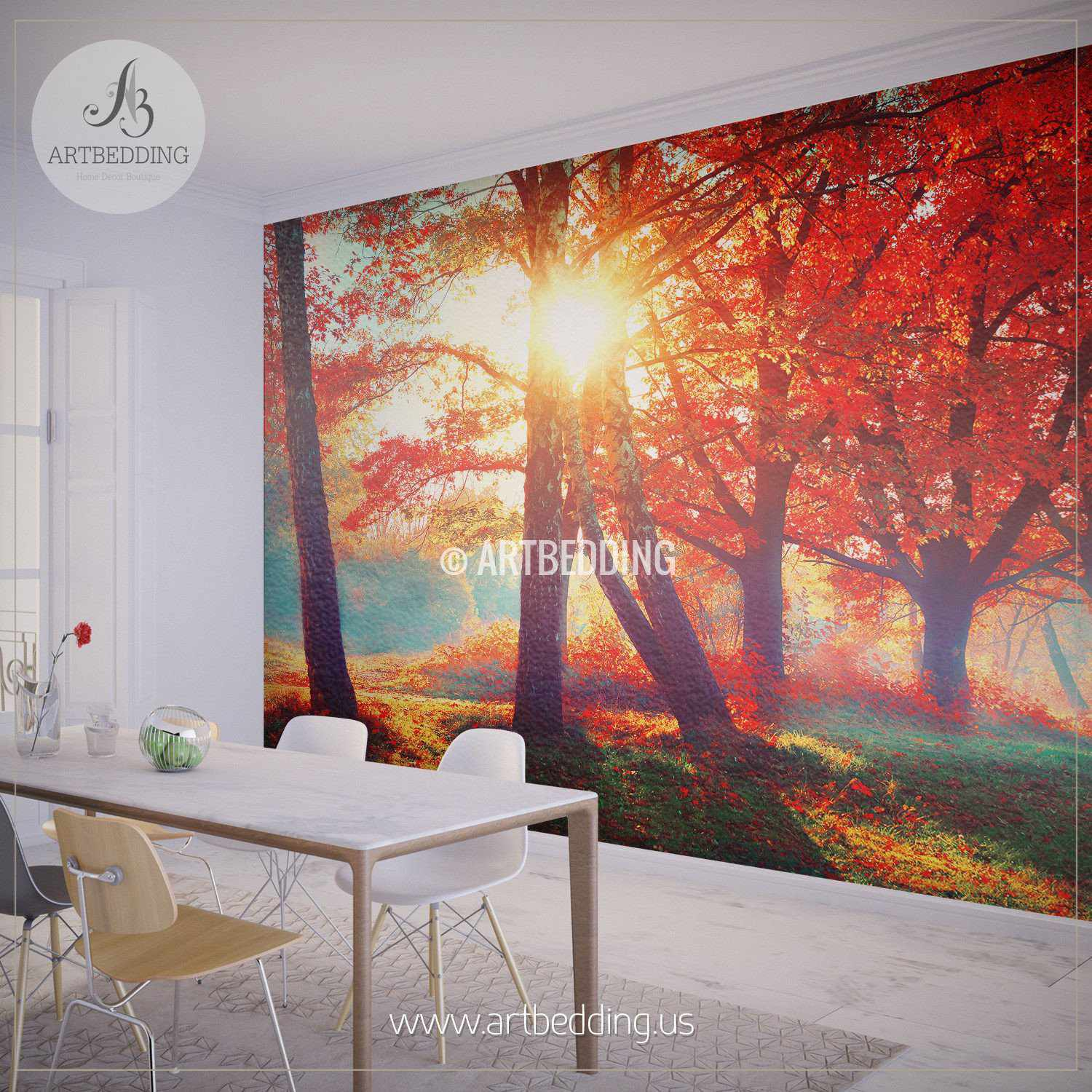 Autumn fall self adhesive photo mural artbedding for Autumn forest wall mural