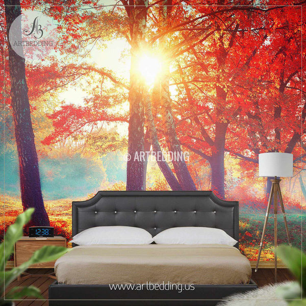 Autumn fall self adhesive photo mural artbedding for Autumn forest 216 wall mural