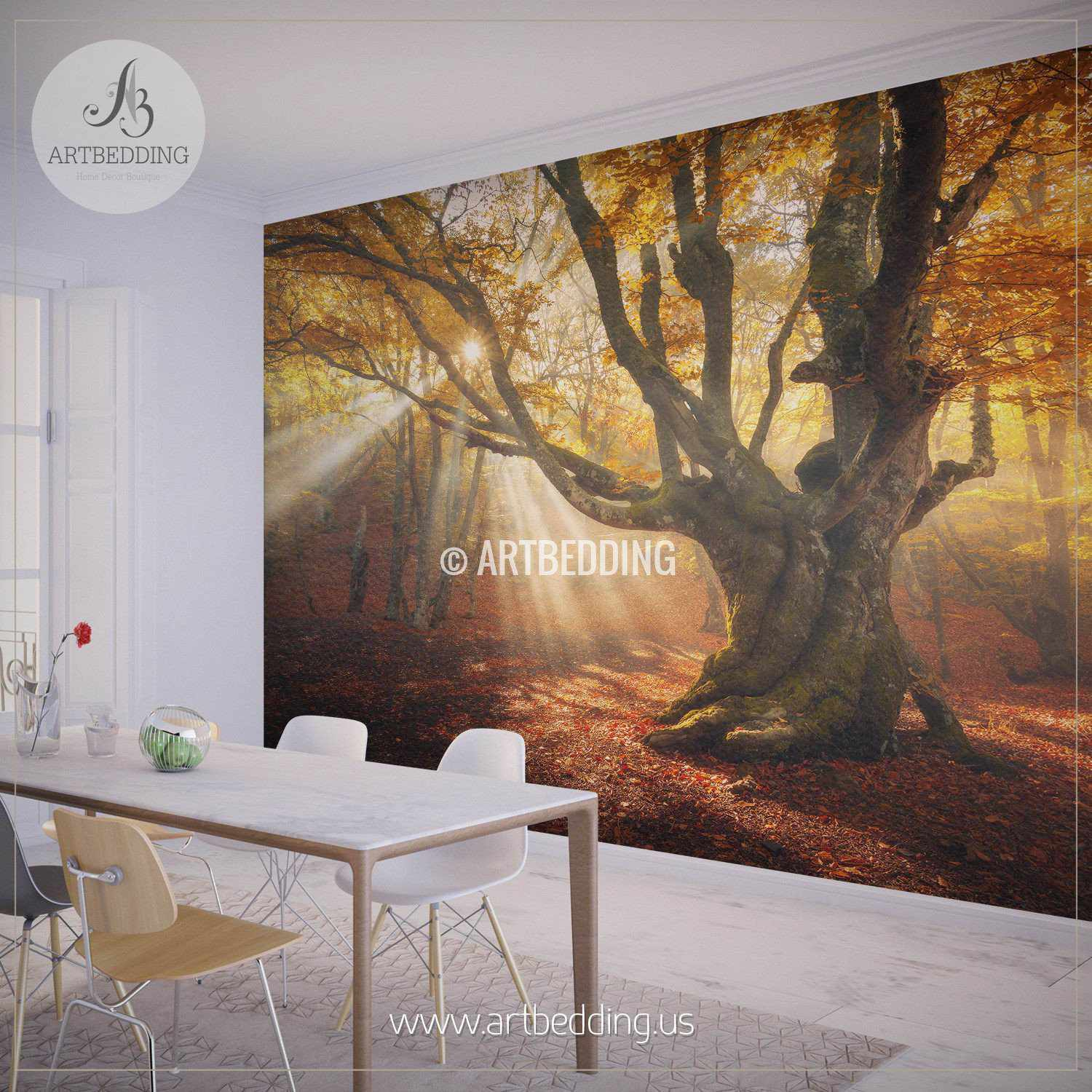 Autumn forest magical old tree photo wall mural artbedding autumn forest magical old tree wall mural photo mural self adhesive peel stick amipublicfo Images