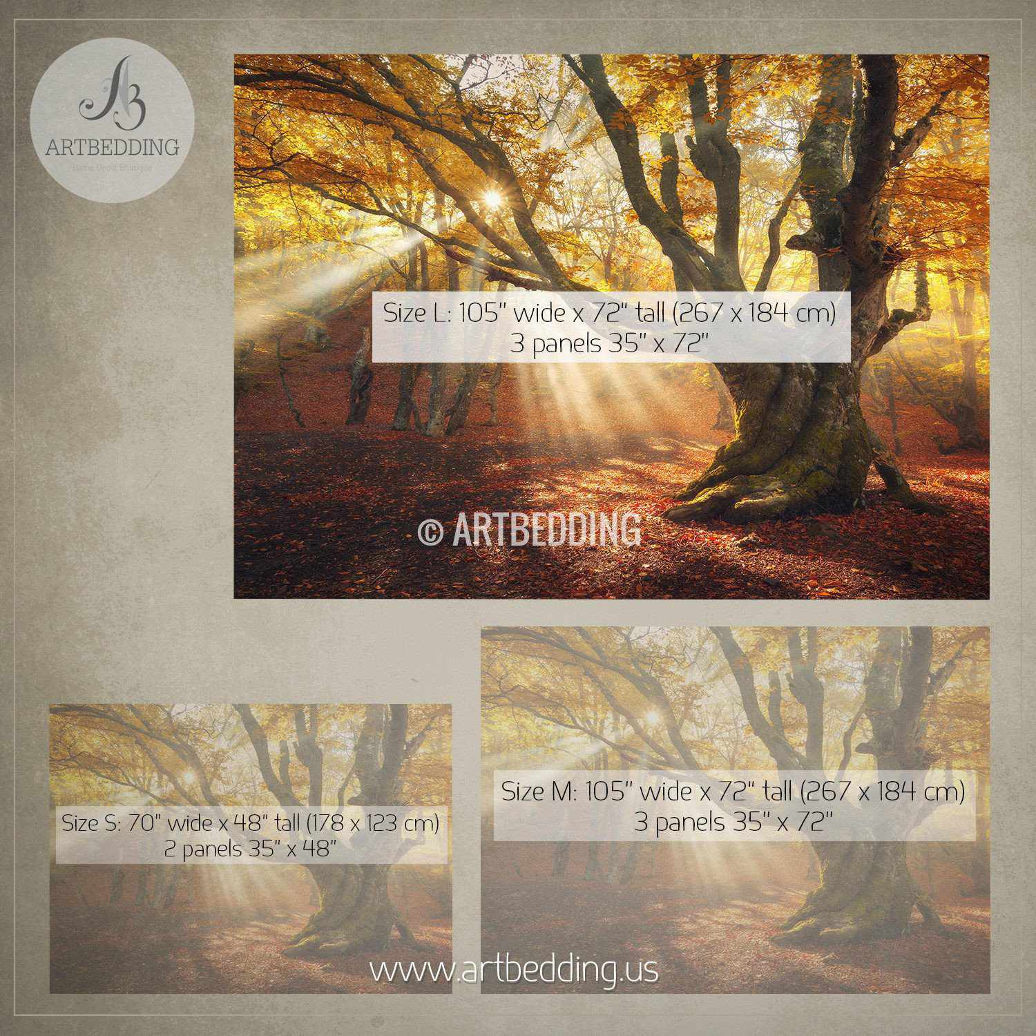 Autumn forest magical old tree photo wall mural artbedding for Autumn tree mural