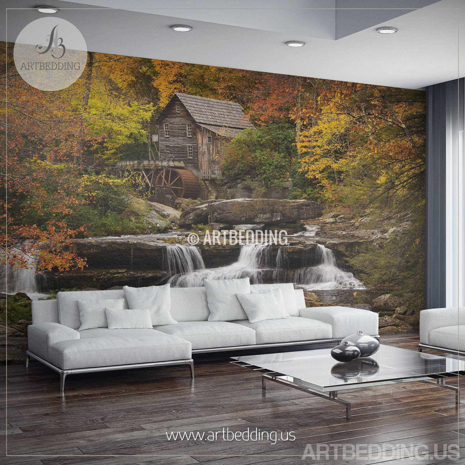 ... Autumn Scene Wall Mural, Autumn Forest Mill Photo Mural Self Adhesive  Peel U0026 Stick, ...