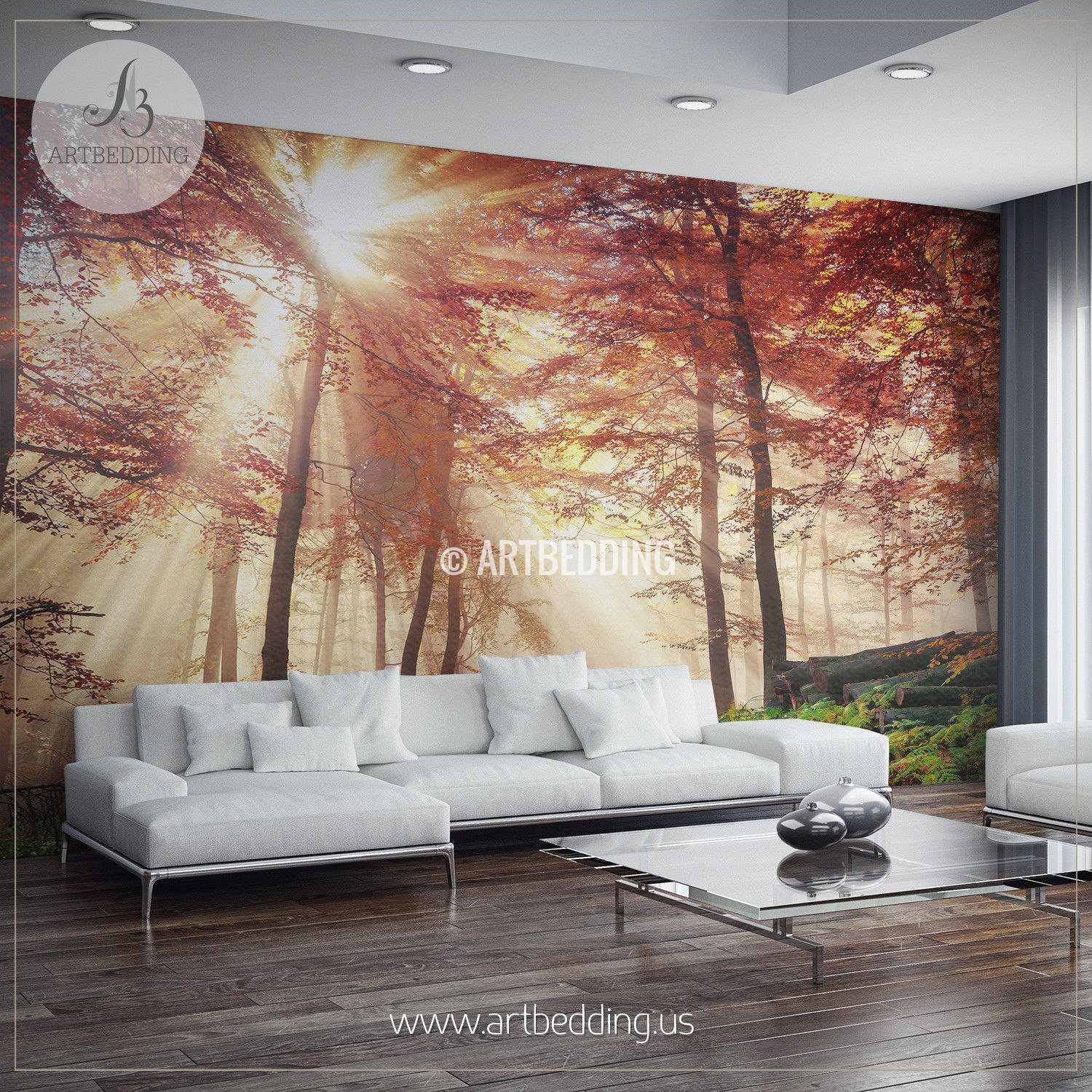 Autumn sun rays in forest photo wall mural artbedding for Autumn wall mural