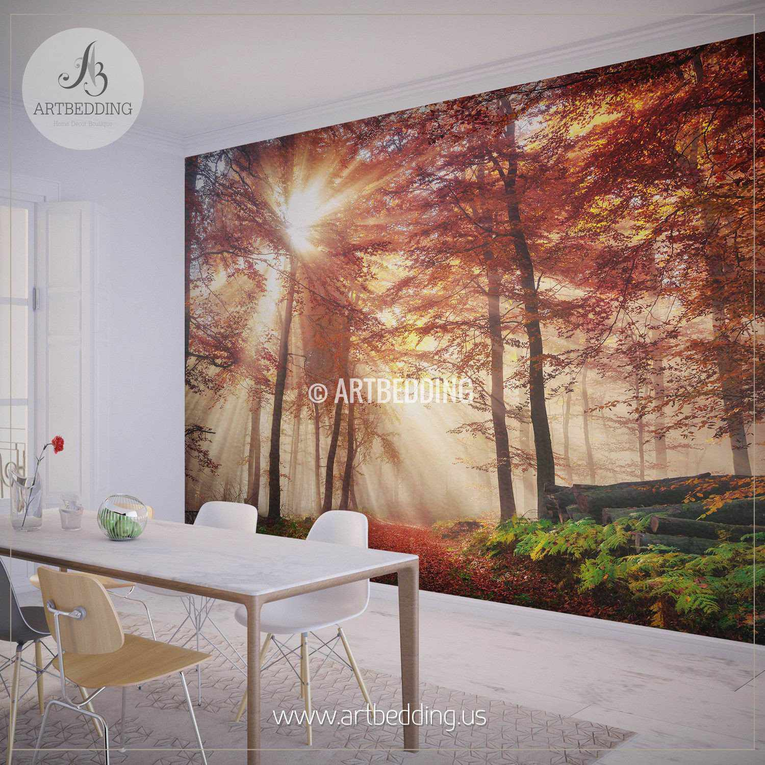 Forest Wall Murals autumn sun-rays in forest photo wall mural - artbedding