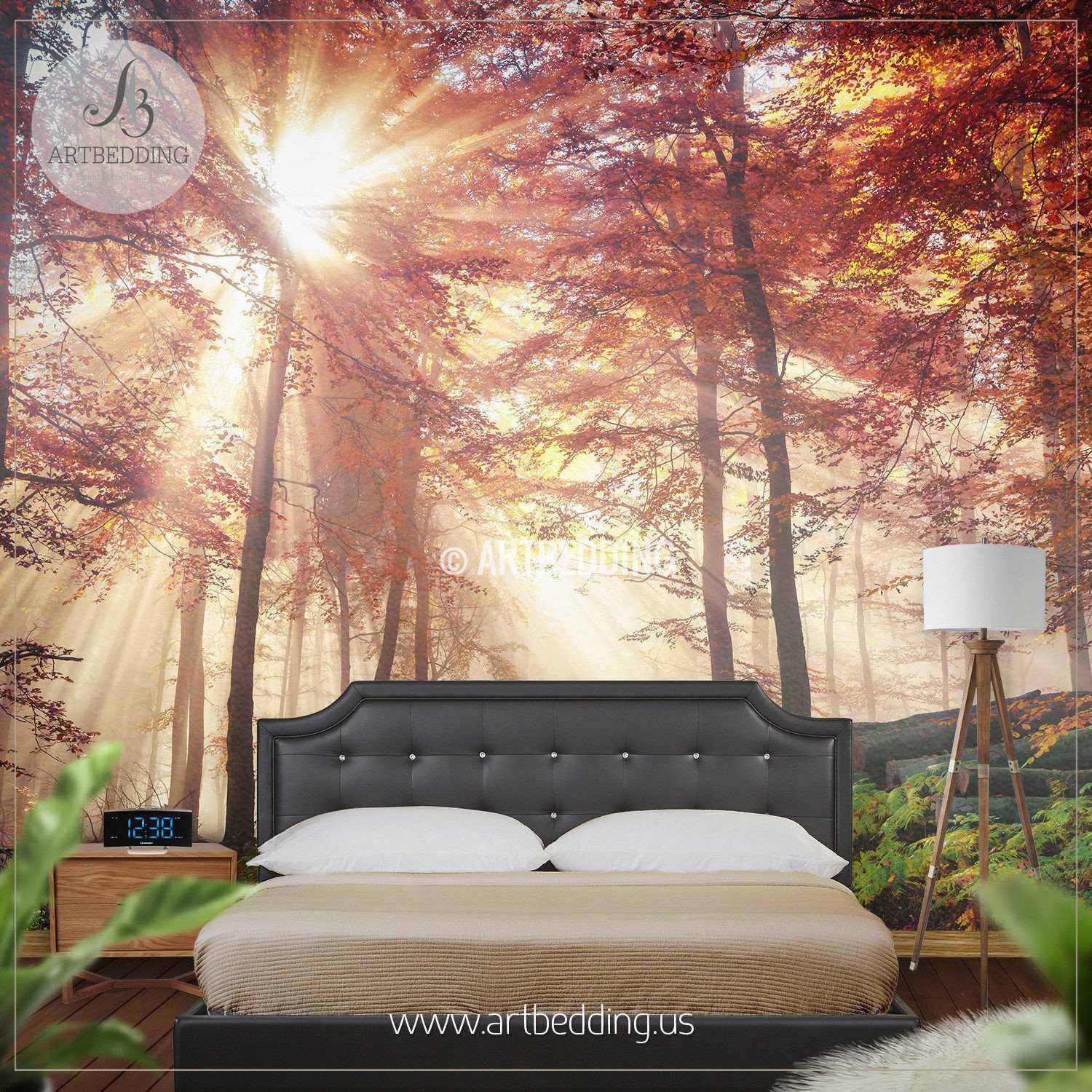 Elegant ... Autumn Sun Rays In Forest Wall Mural, Autumn Forest Mill Photo Mural  Self Adhesive ...