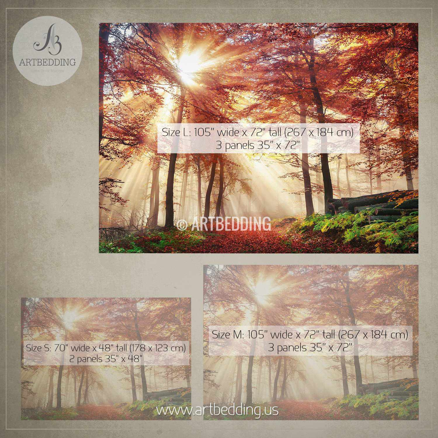 Autumn sun rays in forest photo wall mural artbedding autumn sun rays in forest wall mural autumn forest mill photo mural self adhesive amipublicfo Images