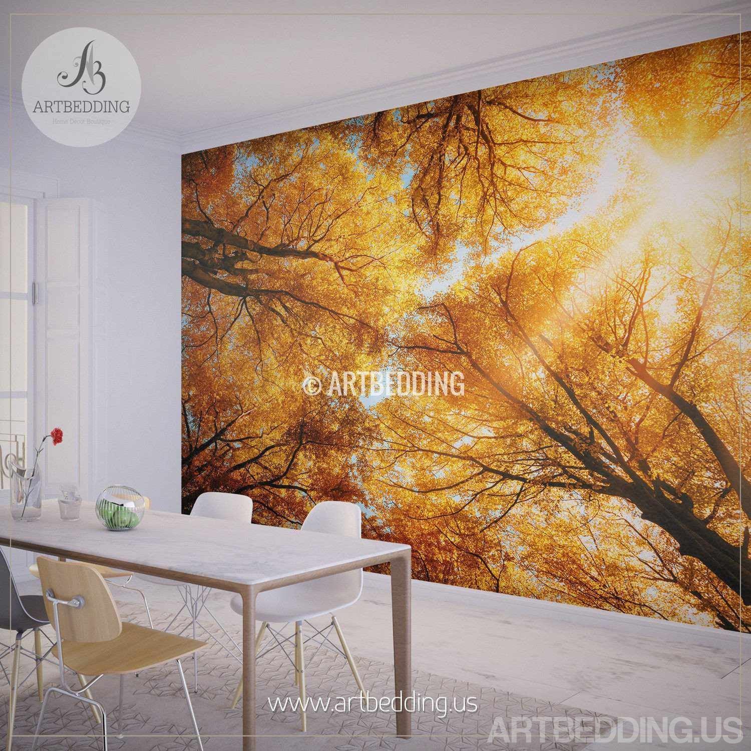 wall mural autumn treetop self adhesive photo mural self adhesive removable romantic forest track wall mural