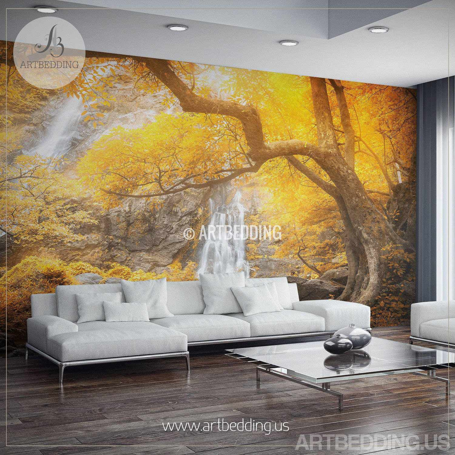 Autumn Waterfall Wall Mural Photo Wall Stickers Self Adhesive Peel