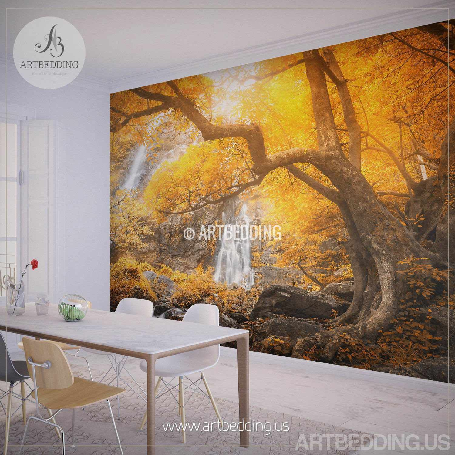 Autumn waterfall wall mural photo wall stickers self adhesive autumn waterfall wall mural photo wall mural self adhesive peel stick nature wall amipublicfo Image collections