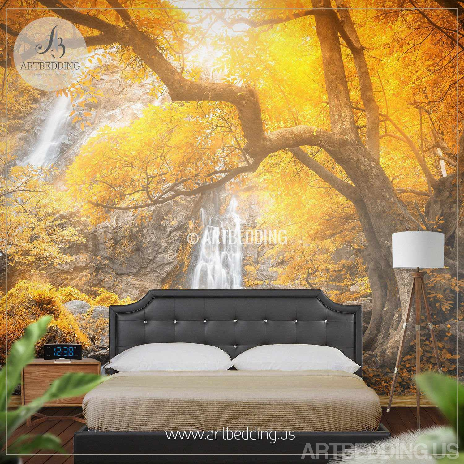 Autumn Waterfall Wall Mural, Photo Wall Stickers Self Adhesive Peel ...
