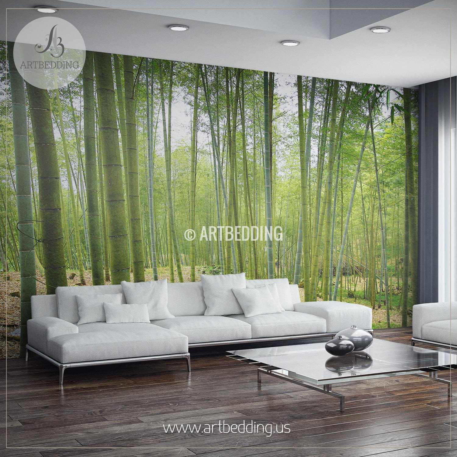 Bamboo Forest Self Adhesive Peel Stick Nature wall mural ARTBEDDING