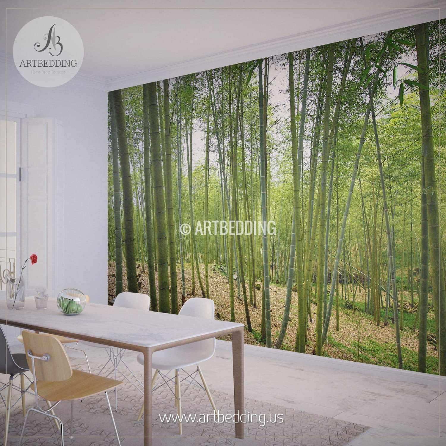 ... Bamboo Forest Self Adhesive Peel U0026 Stick, Nature Wall Mural Wall Mural  ... Part 45