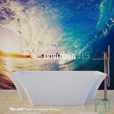 Bathroom mural, Self Adhesive Peel & Stick Bathroom Photo Mural, Blue wave Wall mural for bathroom