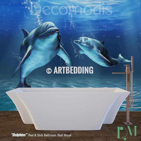 Bathroom mural, Self Adhesive Peel & Stick Bathroom Photo Mural, Dolphins Wall mural for bathroom