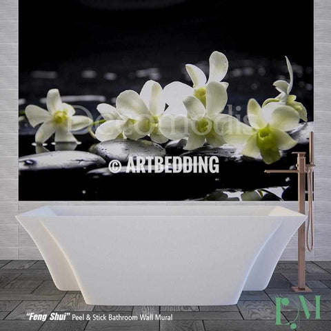 Bathroom mural, Self Adhesive Peel & Stick Bathroom Photo Mural, Feng Shui Wall mural for bathroom