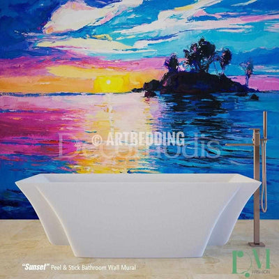 Bathroom mural, Self Adhesive Peel & Stick Bathroom Photo Mural, Sunset painting Wall mural for bathroom