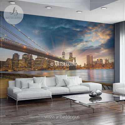 Beautiful Brooklyn Bridge New York Cityscape Wall Mural, USA Photo sticker, USA wall decor wall mural