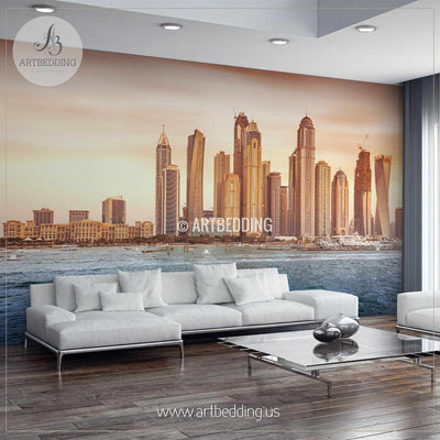 Beautiful Dubai Cityscape Wall Mural, Dubai Photo sticker, Dubai wall decor wall mural