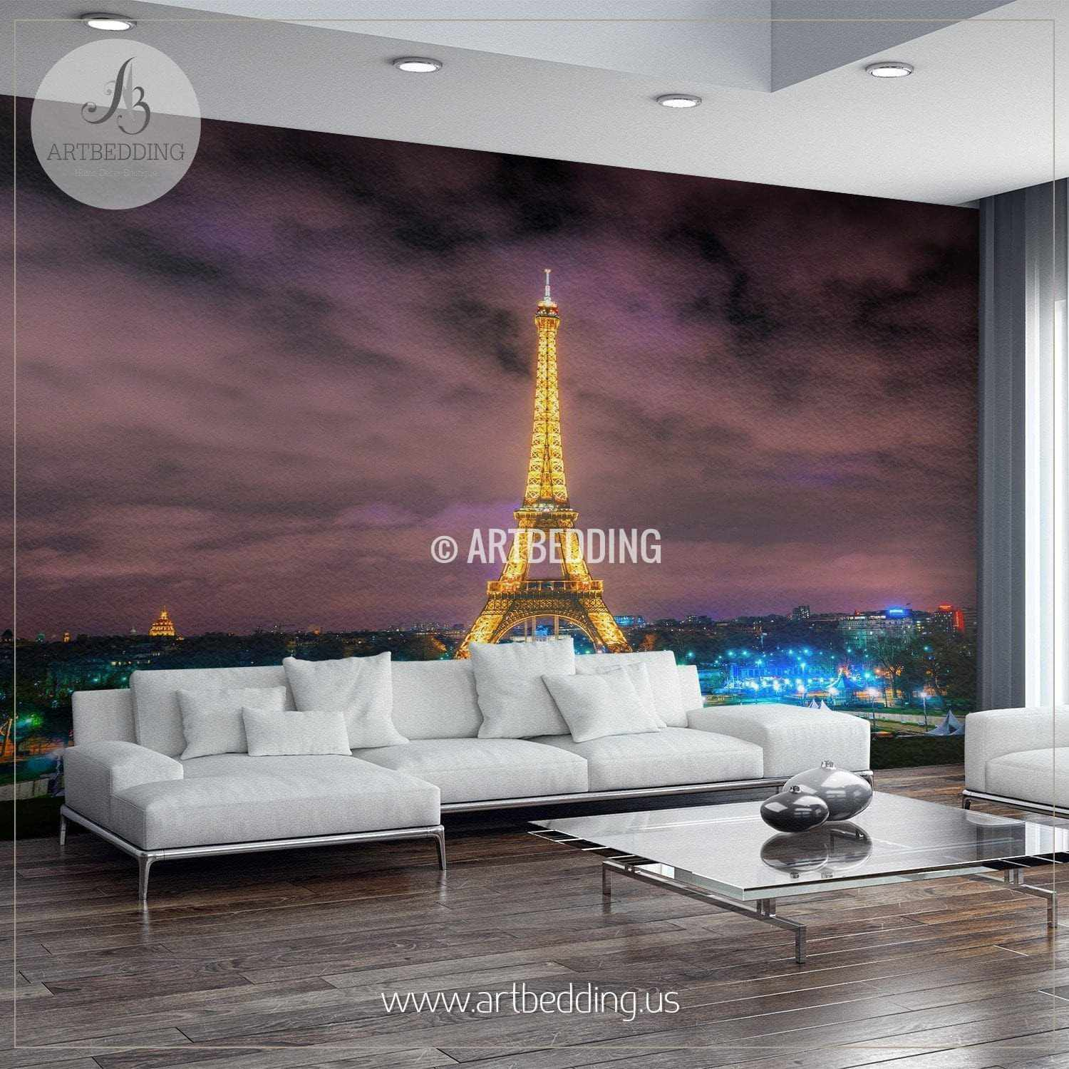 Beautiful Eiffel Tower In Paris Night Cityscape Wall Mural France Pho Artbedding