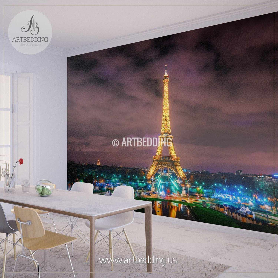 Beautiful Eiffel Tower in Paris Night Cityscape Wall Mural, France Photo sticker, France wall decor wall mural