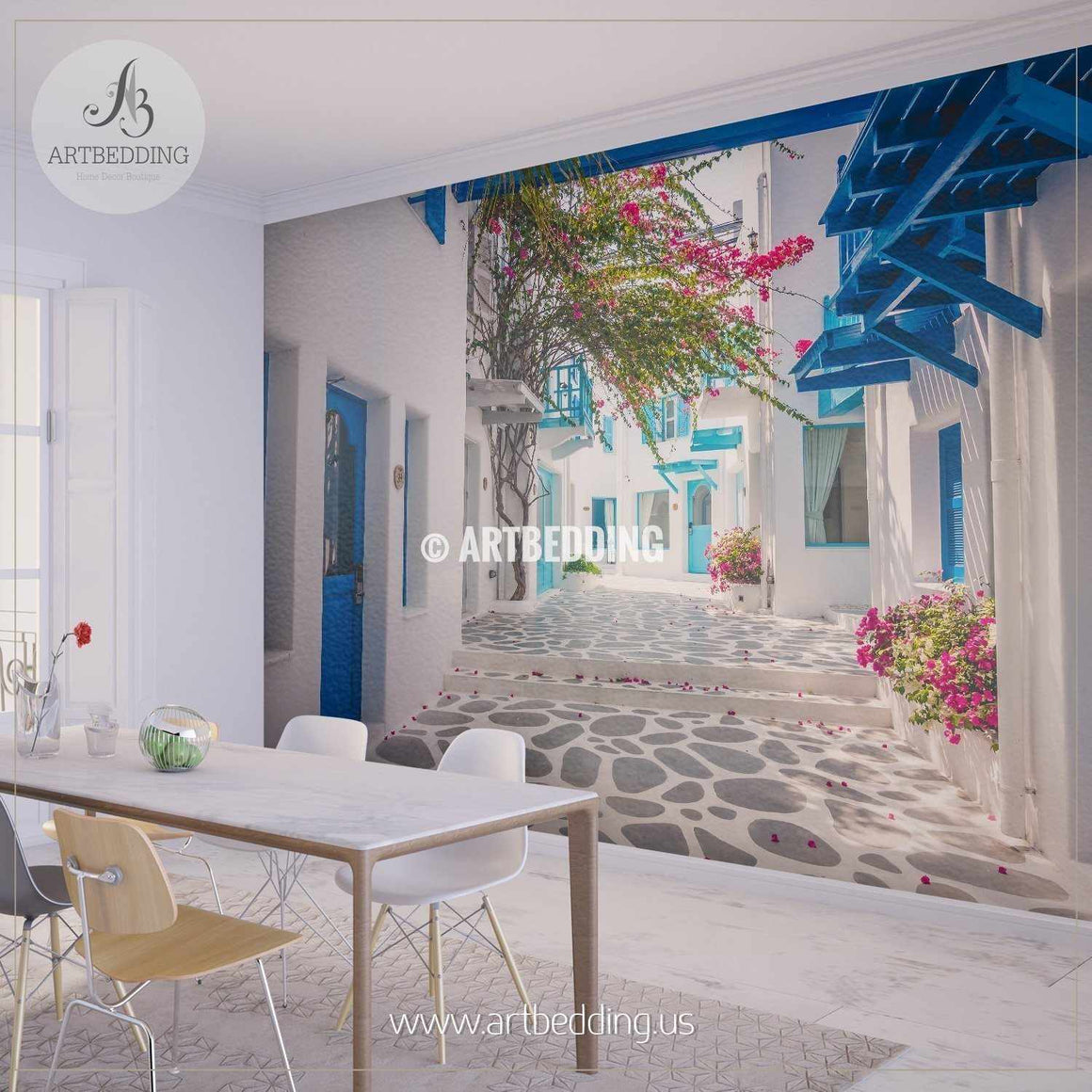 Beautiful Greek style Architecture Wall Mural, Landmarks Photo Mural, photo mural wall décor wall mural