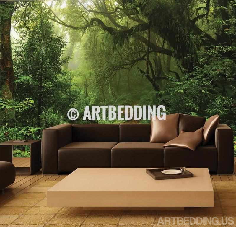 Photo Mural Self Adhesive Peel Stick Wall Green Forest Rhartbeddingus: Wall Murals Peel And Stick For Living Room At Home Improvement Advice