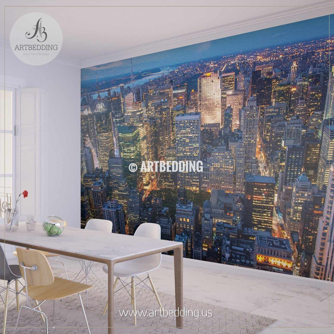 Beautiful New York City skyline with urban skyscrapers at sunset Wall Mural, Photo Mural, wall décor wall mural
