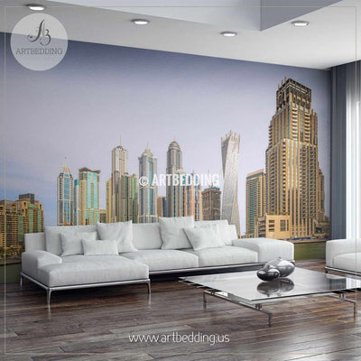 Beautiful panorama of skyscrapers in Dubai Wall Mural, Landmarks Photo Mural, Dubai cityscape photo mural wall mural