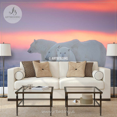 Beautiful Polar Bears Wall Mural, Polar Bears Self Adhesive Peel & Stick Photo Mural wall mural