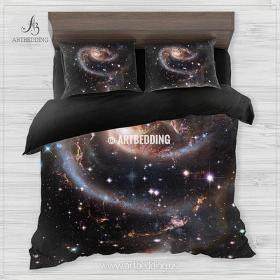 Beautiful spiral galaxy in deep space bedding, Abstract space Bedding set, Galaxy print Duvet Cover, 3D galaxy bedding Bedding set