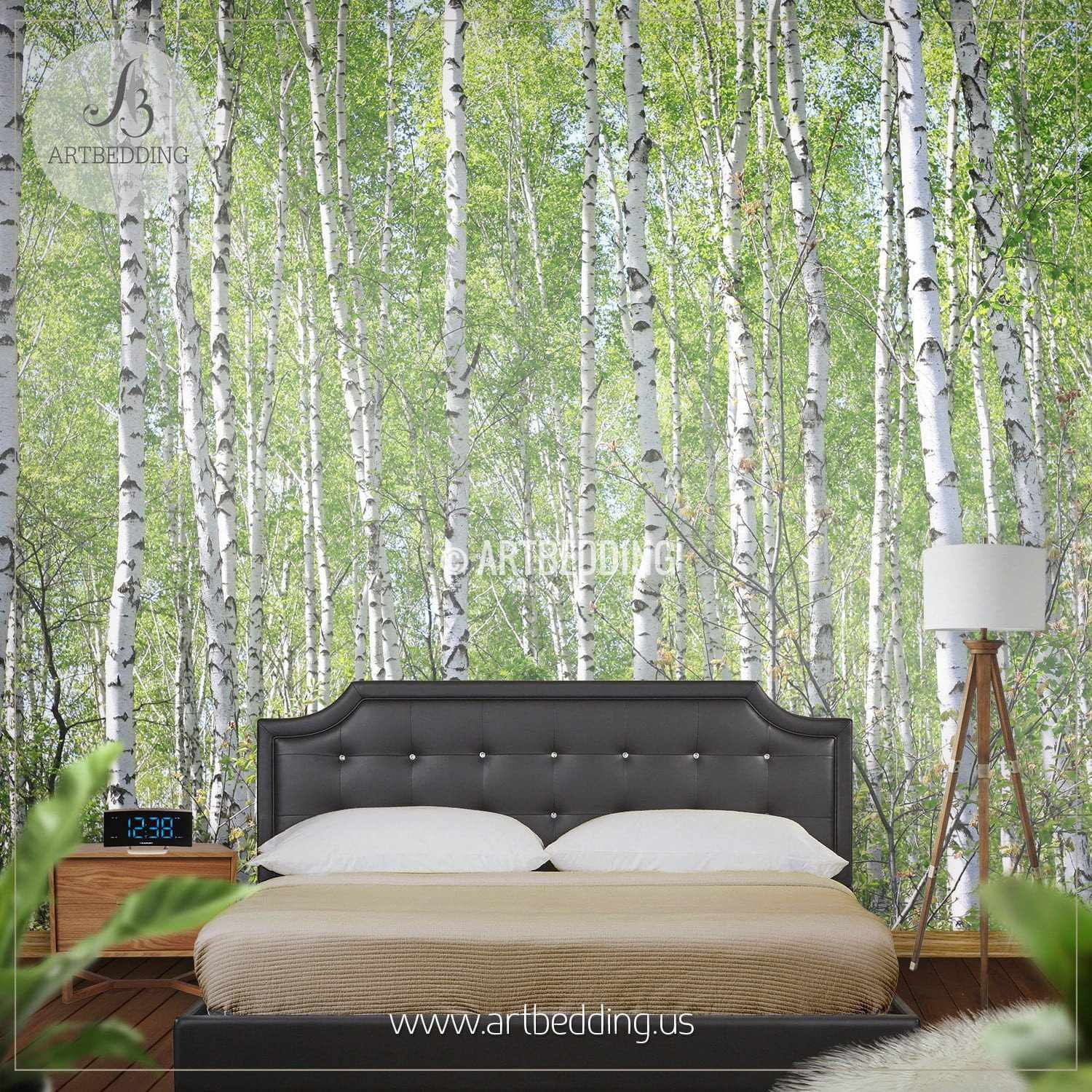 self-adhesive vinly birch forest wall mural forest mural birch wall decal birch tree wall mural moor wall mural, FOREST WALL MURAL