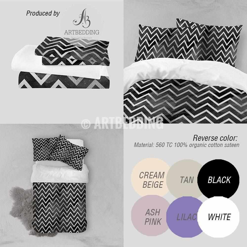 Black and Silver abstract geometry Duvet cover, Black handpainted watercolor background with silver abstract zigzag stripes geometry pattern duvet cover, artbedding duvet cover