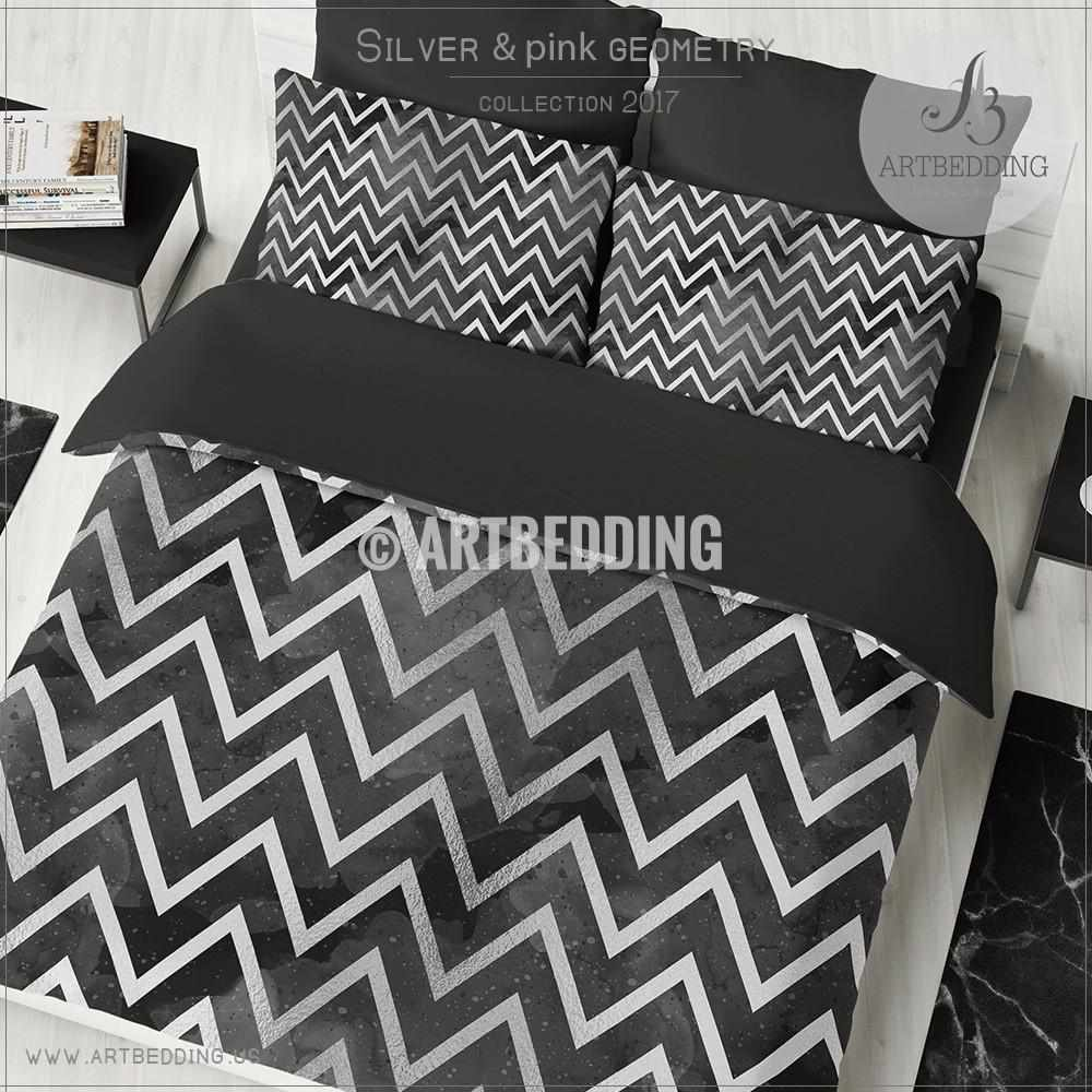 Black bed sheets pattern - Black And Silver Abstract Geometry Duvet Cover Black Handpainted Watercolor Background With Silver Abstract Zigzag Stripes Geometry Pattern Duvet Cover