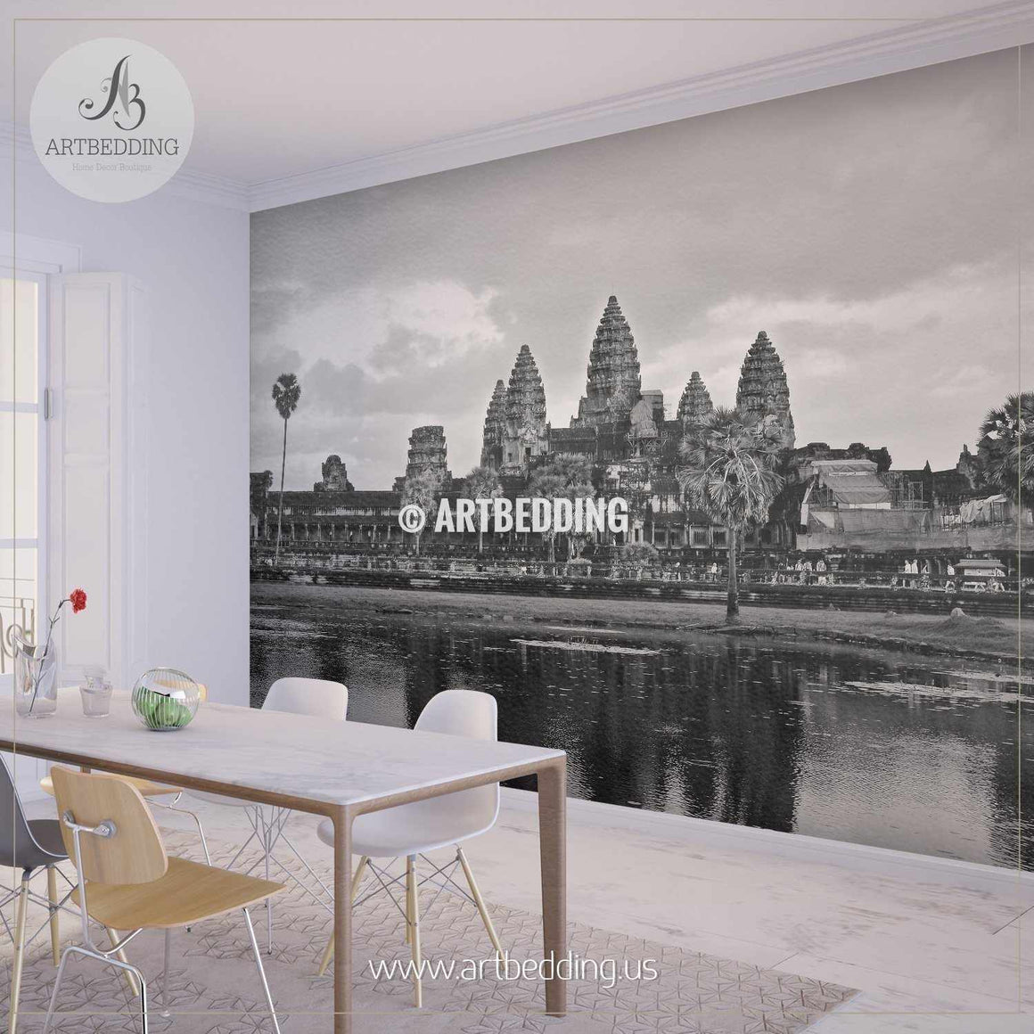 Black and white shot of Angkor Wat in Siem Reap Province, Cambodia Wall Mural, Photo Mural, wall décor wall mural