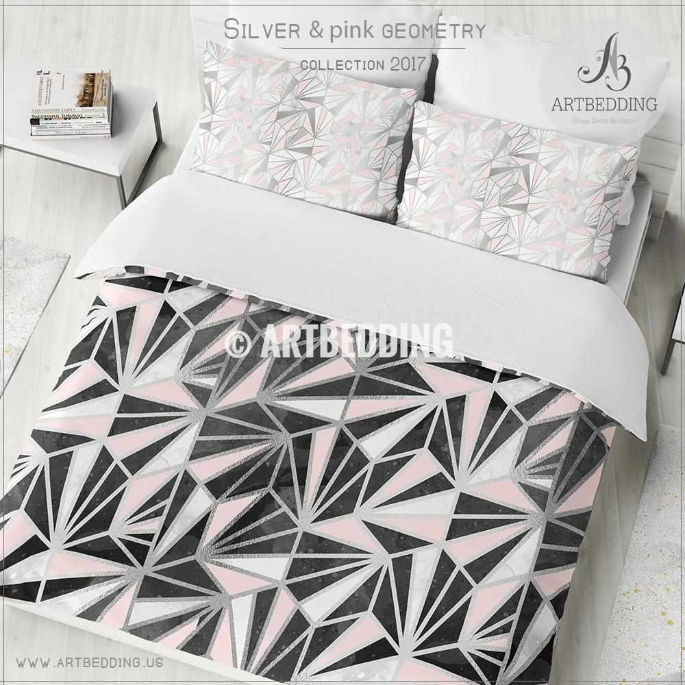 ... Black Silver Geometry Duvet Cover, Black Handpainted Watercolor Texture  With Silver And Pink Psychedelic Triangle ...