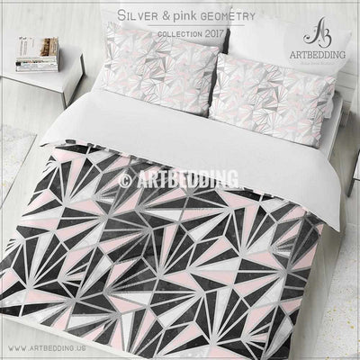 Black silver geometry Duvet cover, Black handpainted watercolor texture with silver and pink psychedelic triangle geometry pattern  duvet cover, artbedding duvet cover