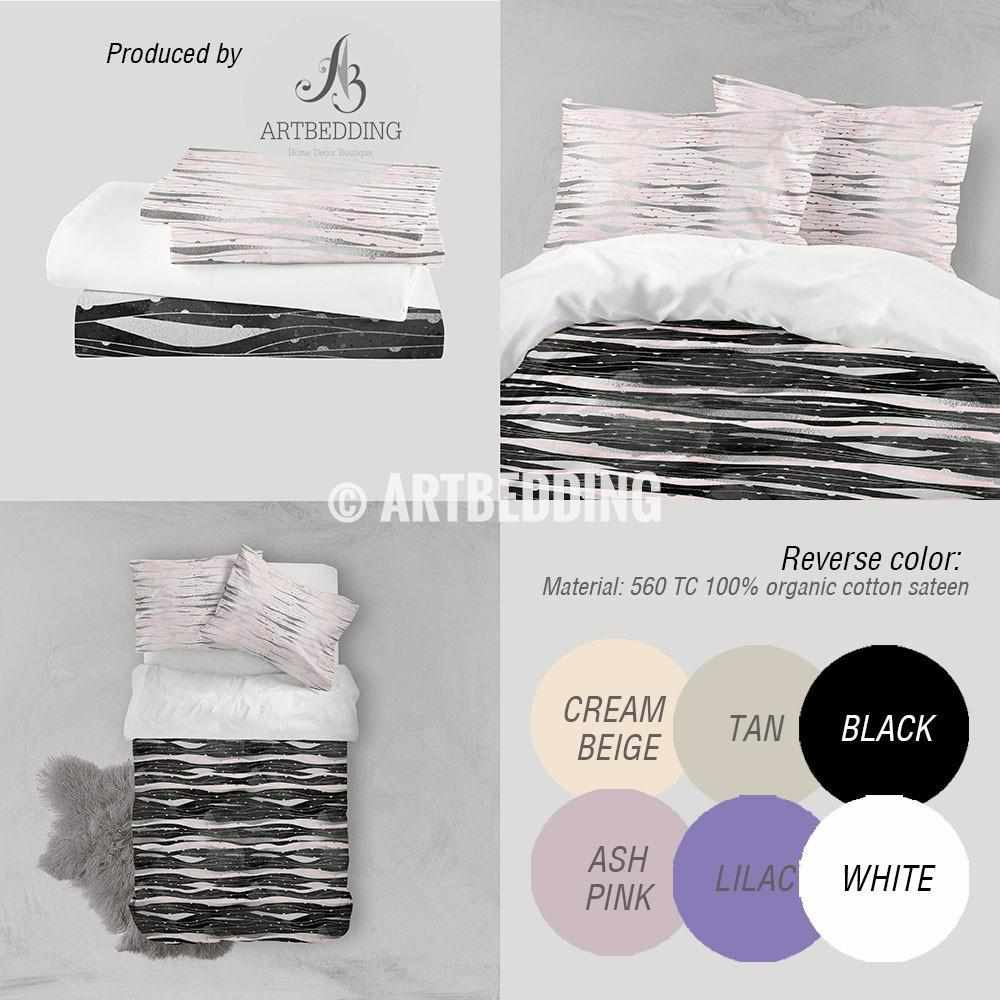 Black silver geometry Duvet cover, Black handpainted watercolor texture with silver and pink psychedelic wave geometry pattern duvet cover, artbedding duvet cover