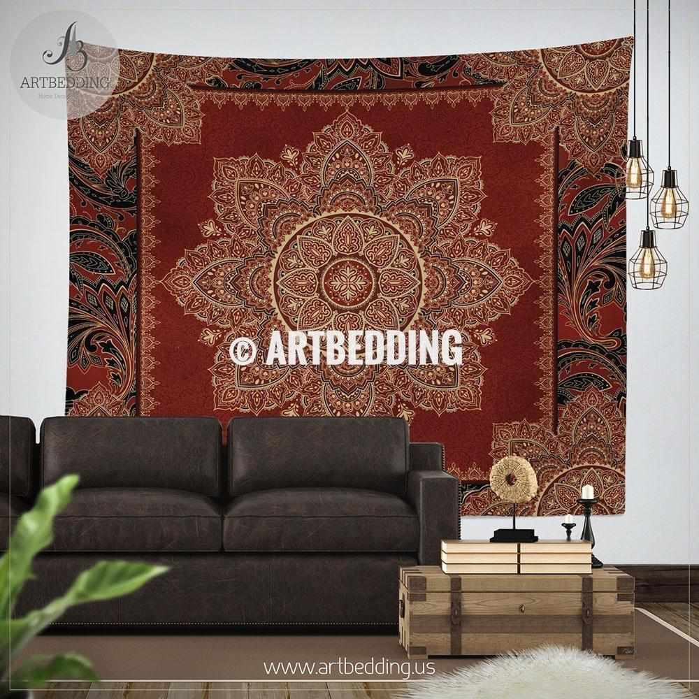 Blood red Boho mandala TAPESTRY, Crimson Red & Cream beige vintage mandala Wall hanging, Boho Mandala Wall Decor, Mandala Indie Tapestry, artbedding wall art Tapestry