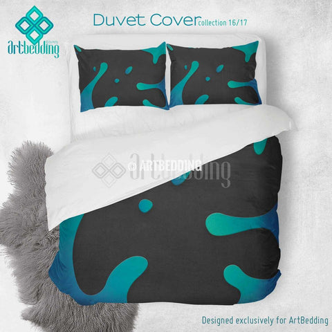 Blue splashes printed Duvet cover, premium blue splashes duvet cover, Cotton sateen duvet cover, grunge art print duvet cover, artbedding duvet cover