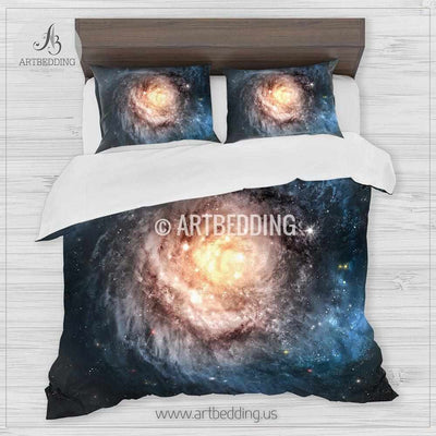 Blue spyral galaxy bedding set, deep space spyral galaxy formation with stars duvet bedding set, Space moon bedroom decor Bedding set
