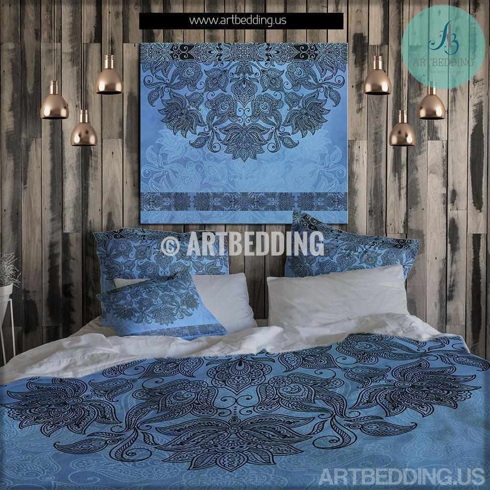 bohemian bedding blue indie mandala bedding bohochic vintage  -  bohemian bedding blue indie mandala bedding bohochic vintage beddingset mandala duvet cover